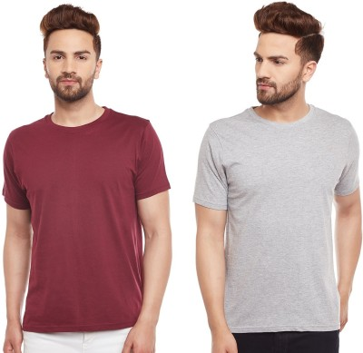 The Dry State Solid Men's Round Neck Maroon, Grey T-Shirt(Pack of 2)