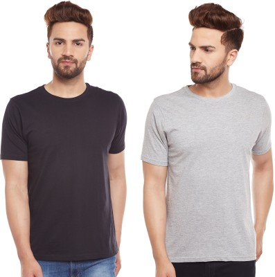 The Dry State Solid Men's Round Neck Black, Grey T-Shirt(Pack of 2)