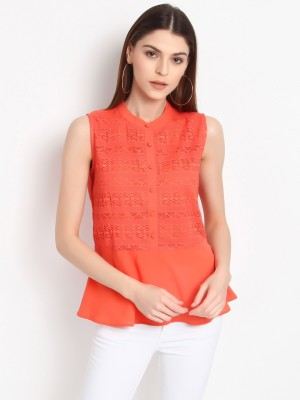 Rare Casual Sleeveless Solid Women Orange Top