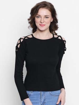 The Dry State Casual Full Sleeve Solid Women Black Top