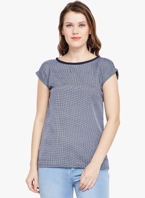 FineCreations Casual Cap Sleeve Printed Women Light Blue Top