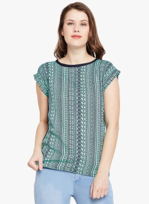 FineCreations Casual Cap Sleeve Printed Women Green Top