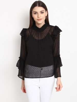 Rare Casual Full Sleeve Solid Women Black Top