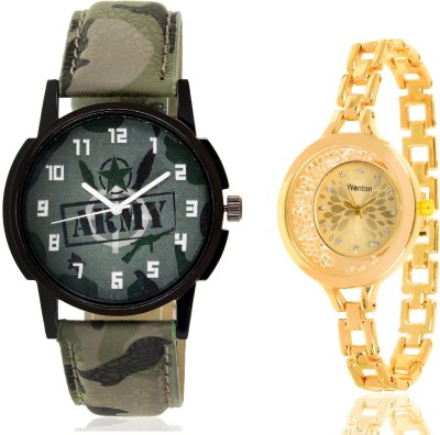 Wanton SP-Army Brown leather styap chronograph pattern watch with green army pattern military sport watch for couple men and women Watch  - For Boys & Girls