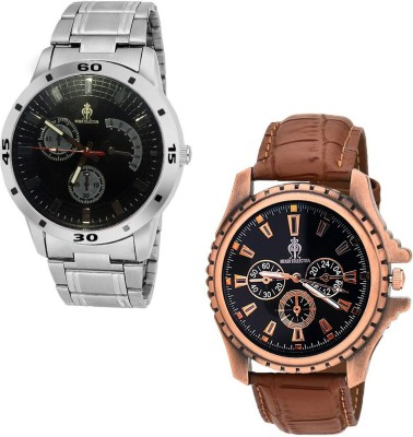 Frolik 20-227 Stylist Design Formal Collection Brown And Silver Color Men And Woman Watch  - For Boys & Girls
