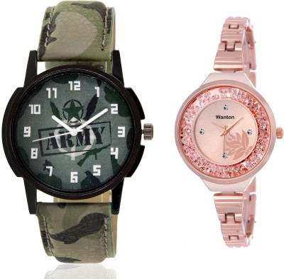 Wanton SP-Army K-blue leather diamond studded fancy peacock watch with green army pattern military sport watch for couple men and women Watch  - For Boys & Girls