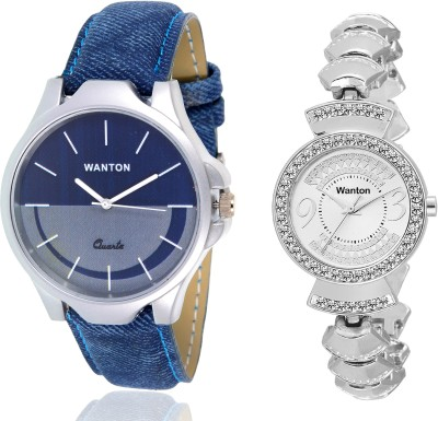 Wanton SP-5 K-13 Silver fancy diamond watch with Blue multi-color dial attractive watch for couple men and women Watch  - For Boys & Girls