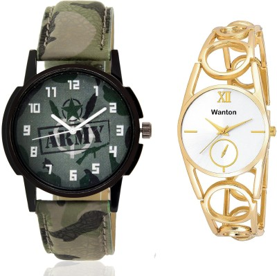 Wanton SP-Army K-12 Gold ring strap chronograph pattern watch with green army pattern military sport watch for couple men and women Watch  - For Boys & Girls