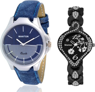 Wanton SP-5 K-blue leather diamond studded fancy peacock watch with Blue multi-color dial attractive watch for couple men and women Watch  - For Boys & Girls