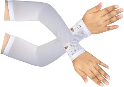 Faynci Designed White Arm Sleeve for Girls & Women Newly fashion trend with protection from Sun (Free Size) Nylon Arm Warmer(White)