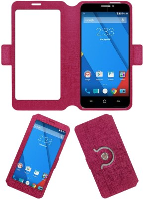 ACM Flip Cover for Yu Yureka Plus(Pink, Cases with Holder, Artificial Leather)