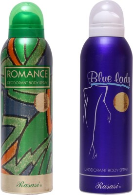 Rasasi ROMANCE AND BLUE LADY Body Spray  -  For Men & Women(100 ml, Pack of 2)  available at flipkart for Rs.549
