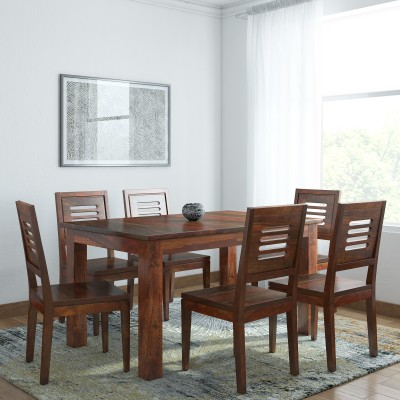 Home Edge Karent Sheesham Solid Wood 6 Seater Dining Set(Finish Color - Teak)
