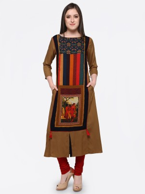 Forty Eight Casual Printed Women Kurti(Dark Blue)