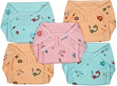 JUSTLIST New born Baby Knot Cotton Padded Cloth Nappies in the Pack of 5  Colour and Print may vary  JUSTLIST Nappy