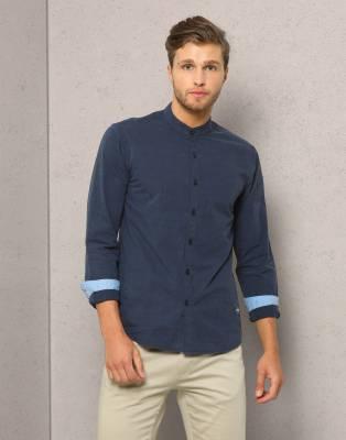 Metronaut Men's Solid Formal Mandarin Shirt
