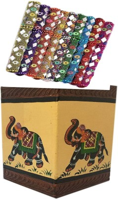SAARTHI SAARTHI Rajasthani Unique Traditional Fancy Colourful Decorative Pen with Mirror Work-Set of 10 with Rajasthani Decorative Unique Handpainted Wooden Elephant Painting Pen Pencil or Card Holder Stand/Cutlery Holder Table Desk Organizer Set Decorative Showpiece  -  8.8 cm(Wooden, Multicolor)