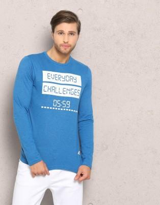 Metronaut Printed Men Round Neck Light Blue, Black T-Shirt