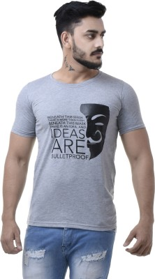 COBIO MAN Printed Men's Round Neck Grey T-Shirt
