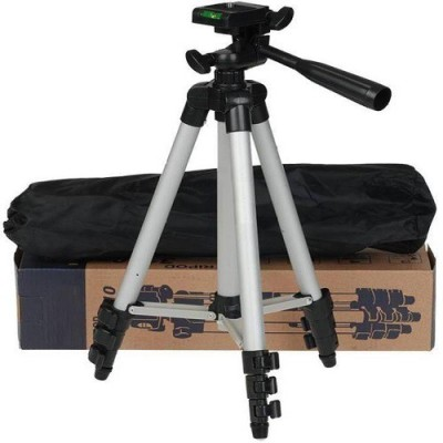 techdeal 3110 A Tripod Stand With 3-way Head Light Weight Digital Camera Tripod Tripod(Silver, Supports Up to 1500 g) 1