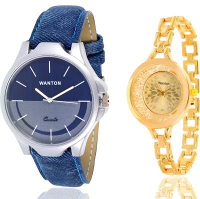 Wanton SP-5 K-16 gold moving diamond beads in dial watch with Blue multi-color dial attractive watch for couple men and women Watch  - For Boys & Girls