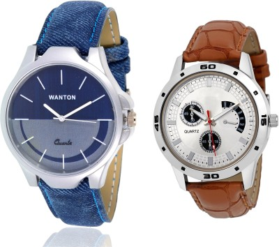 Wanton SP-5 Brown leather styap chronograph pattern watch with Blue multi-color dial attractive watch for couple men and women Watch  - For Boys & Girls