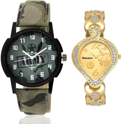 Wanton K-5 SP-Army Gold Diamond studded attractive watch with green army pattern military sport watch for couple men and women Watch  - For Boys & Girls