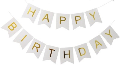 Theme My Party Pastel Perfection White and Gold Foiled Happy Birthday Bunting Banner, Birthday Decorations, Bunting Birthday Banner (White) Banner(10 ft, Pack of 1)