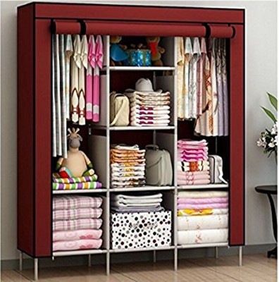 Furn Central 2 Door PP Collapsible Wardrobe(Finish Color - Colorful Leaves)