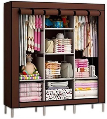 Continental Continental 6+2 Layer Fancy and Portable Foldable Closet Wardrobe Cabinet Portable Multipurpose Clothes Closet Portable Wardrobe Storage Organizer with Shelves Folding Wardrobe Cupboard Almirah Foldable Storage Rack Collapsible Cabinet (Need to Be Assembled) ( 88130 ) (Brown) PP Collapsi