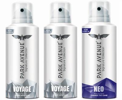 Park Avenue Signature - Voyage, Neo Deodorant Spray  -  For Men(420 ml, Pack of 3)
