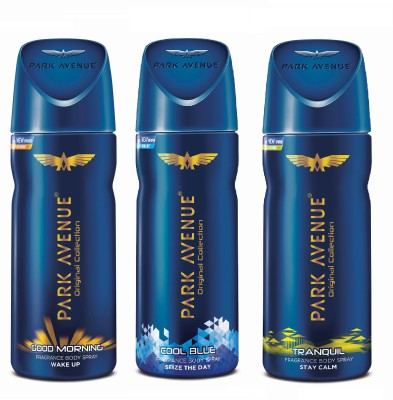 Park Avenue Body - Good Morning, Cool Blue and Tranquil Deodorant Spray  -  For Men  (450 ml, Pack of 3)