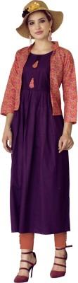 Saara Women Printed Cape Top Kurta(Purple)