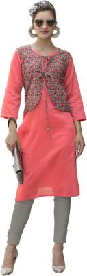 Saara Women Floral Print Straight Kurta(Pink)