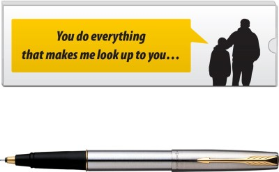 Parker Frontier Stainless Steel GT with Dad Quote-7 Pen Gift Set at flipkart