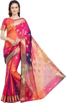 Viva N Diva Self Design Banarasi Poly Silk Saree(Pink, Orange)