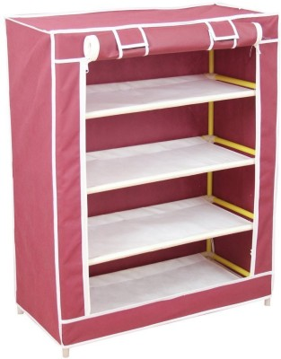 Wyvern 5 Layer Multipurpose Portable Folding Shoe Rack/Shoe Cabinet With wardrobe cover Plastic Collapsible Shoe Stand(Maroon, 4 Shelves)