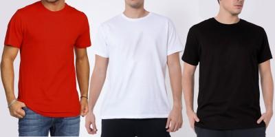 Khopche Solid Men's Round Neck Red, White, Black T-Shirt(Pack of 3)
