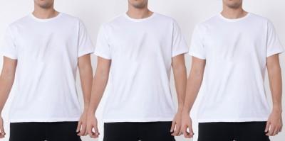 Khopche Solid Men's Round Neck White T-Shirt(Pack of 3)