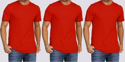 Khopche Solid Men's Round Neck Red T-Shirt(Pack of 3)