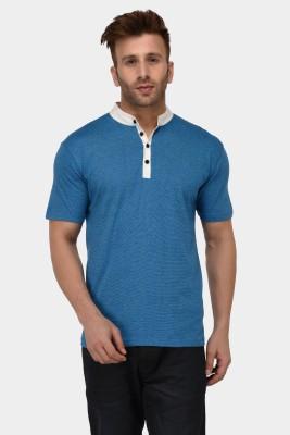 The Dry State Solid Men Mandarin Collar Blue T-Shirt