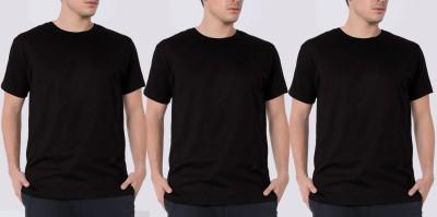 Khopche Solid Men's Round Neck Black T-Shirt(Pack of 3)
