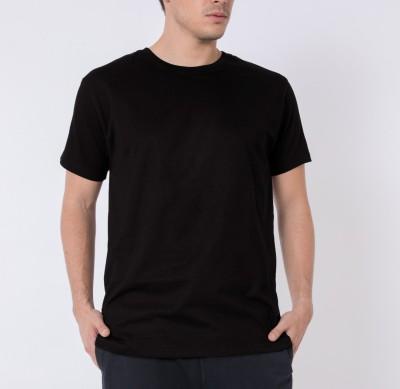 Khopche Solid Men's Round Neck Black T-Shirt
