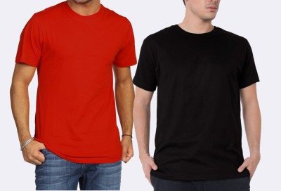 Khopche Solid Men's Round Neck Red, Black T-Shirt(Pack of 3)