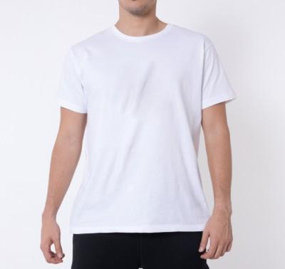Khopche Solid Men's Round Neck White T-Shirt