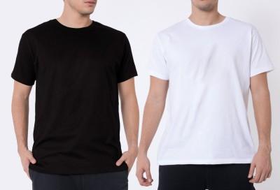 Khopche Solid Men's Round Neck Black, White T-Shirt(Pack of 3)