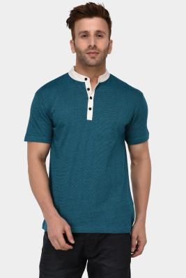 The Dry State Solid Men Mandarin Collar Green T-Shirt