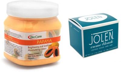 Jolen Crème Bleach 18g and Biocare Papaya Cream 500ml(Set of 2)