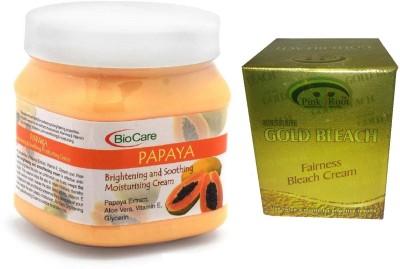 Pink Root Gold Bleach 50g and Biocare Papaya Cream 500ml(Set of 2)
