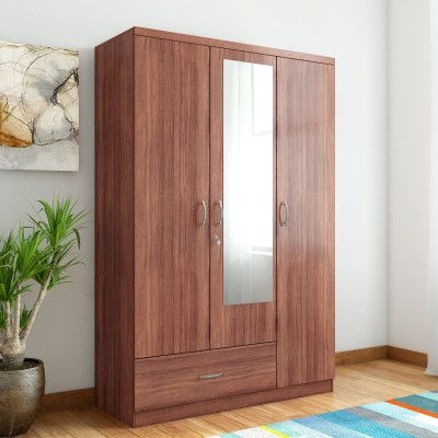 HomeTown Ultima 3 With Rwlnt Engineered Wood 3 Door Almirah Finish Color   Walnut, Mirror Included HomeTown Wardrobes